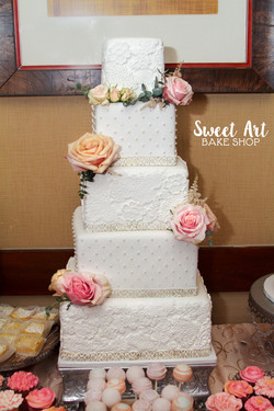 Lace & Swiss Dot Square Wedding Cake