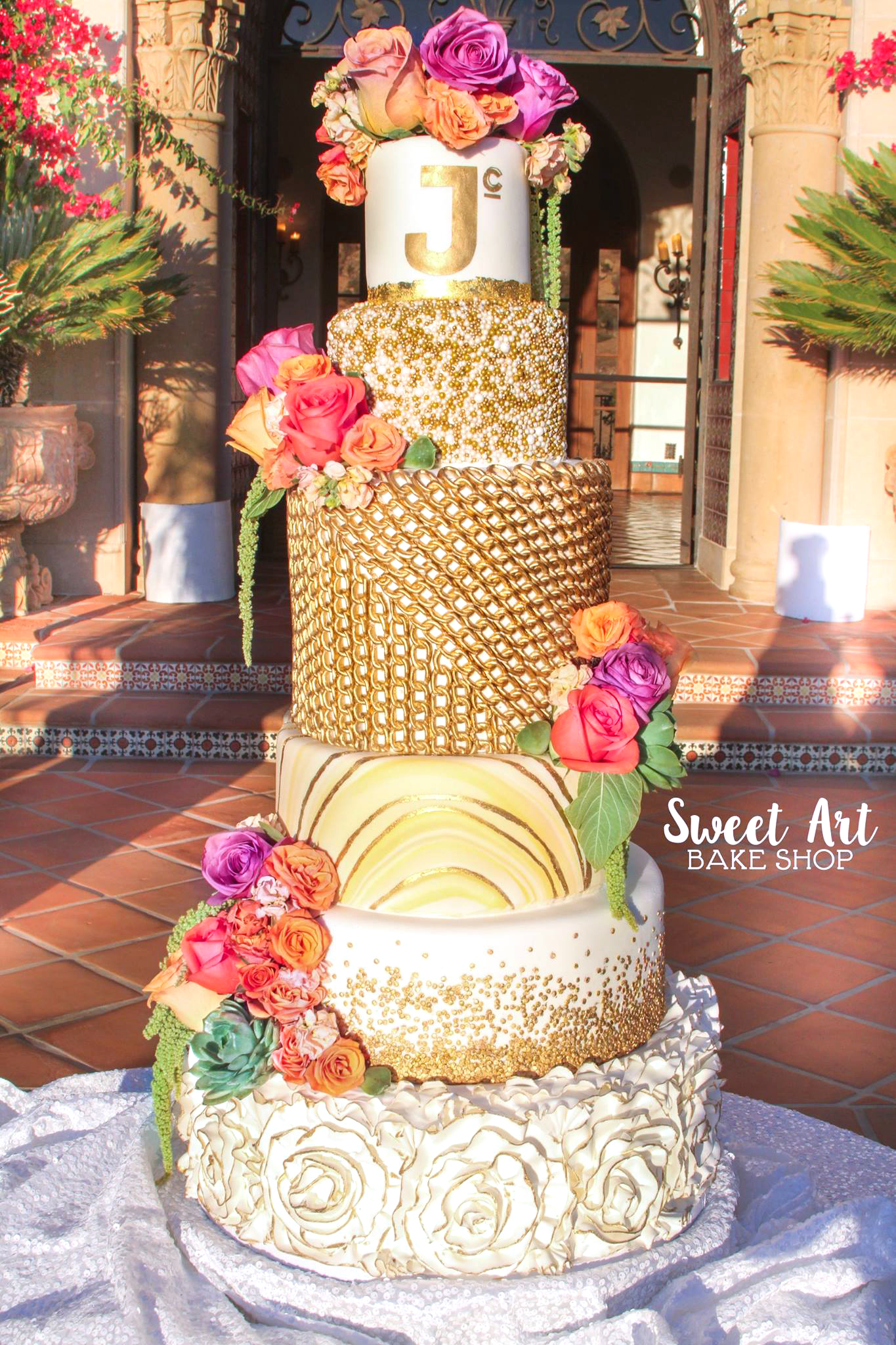 6 Tier Gold Wedding Cake