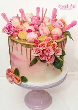 Pink & Gold Drip Cake with Flowers