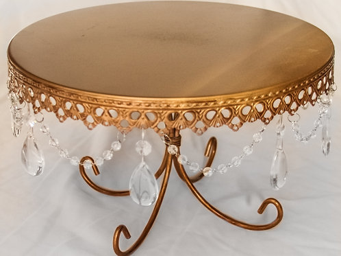 "12"" Gold Cake Stand with Hanging Crystals"