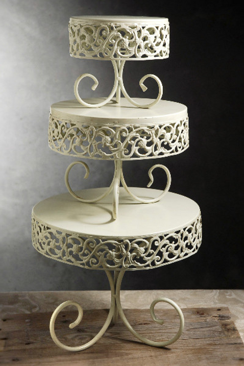 """9.5"""" Ivory Antique Scroll Cake Stand"""
