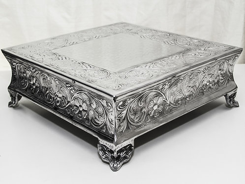 """14"""" Square Silver Wedding Cake Stand"""