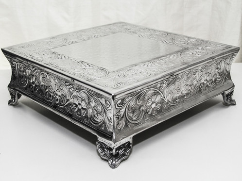 this silver cake stand is the perfect elegant way to display your square wedding cake 14 diameter this price is the rental fee this is not available for