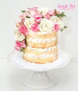 Confetti Naked Cake with Flowers