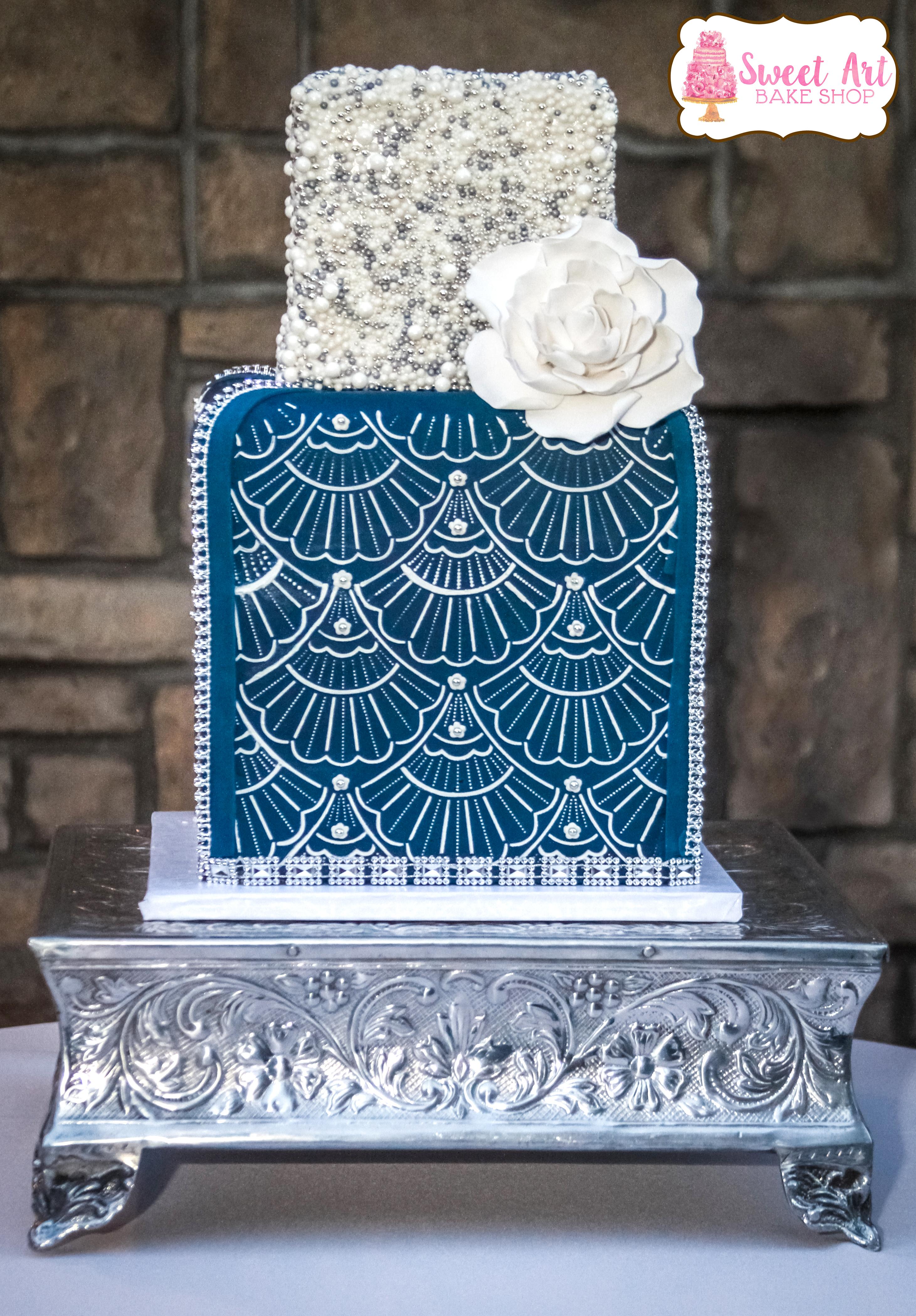 Navy, White & Silver Cake