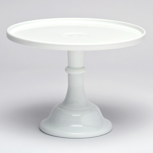 "10"" White Milk Glass Cake Stand"