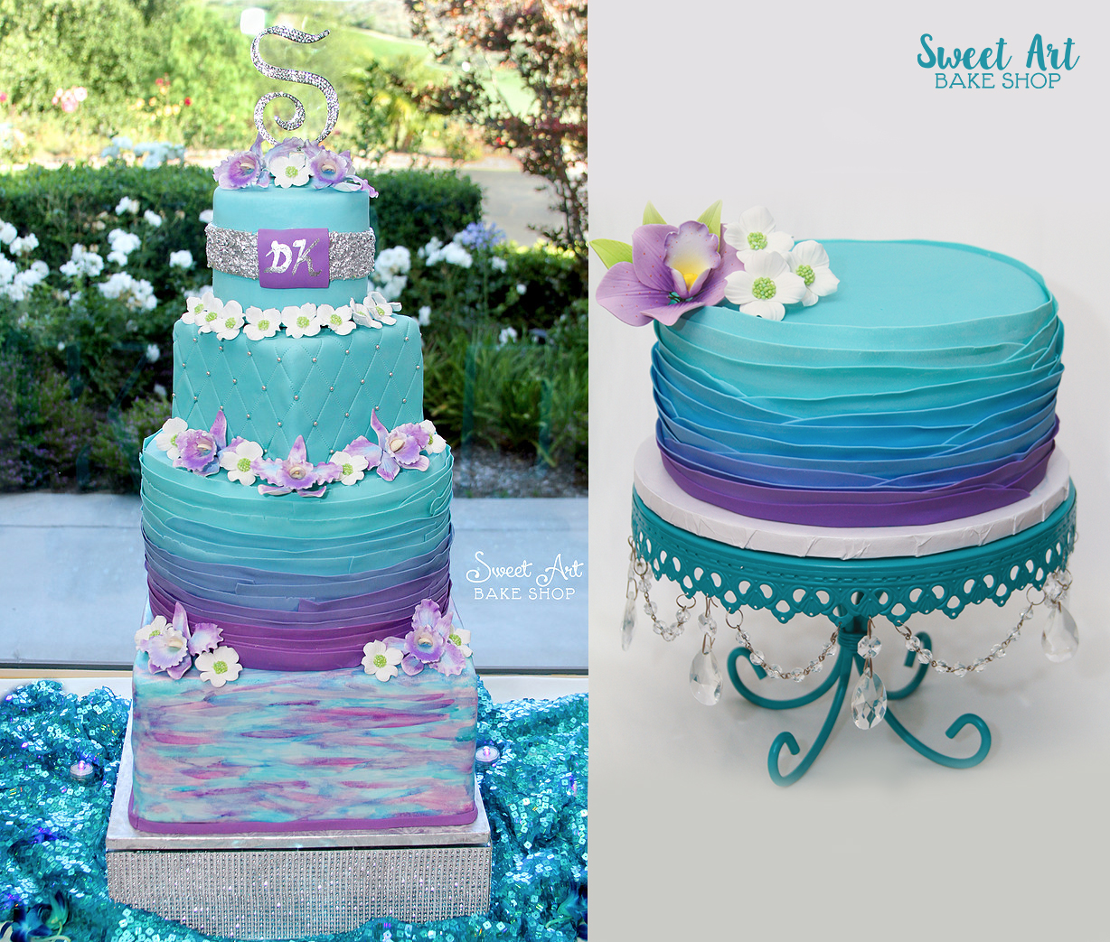 Teal & Purple Ombre Anniversary Cake