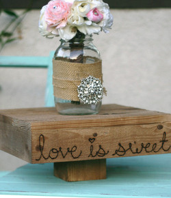 """14"""" Love is Sweet Wood Cake Stand"""
