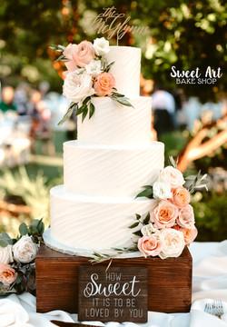 Diagonal Textured Buttercream Wedding Cake