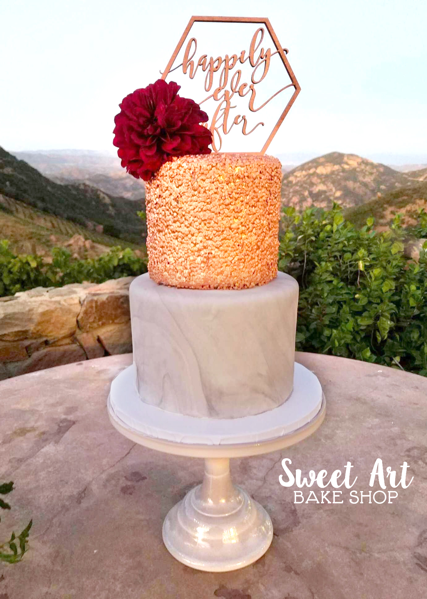 Marble and Gold Sequin Cake