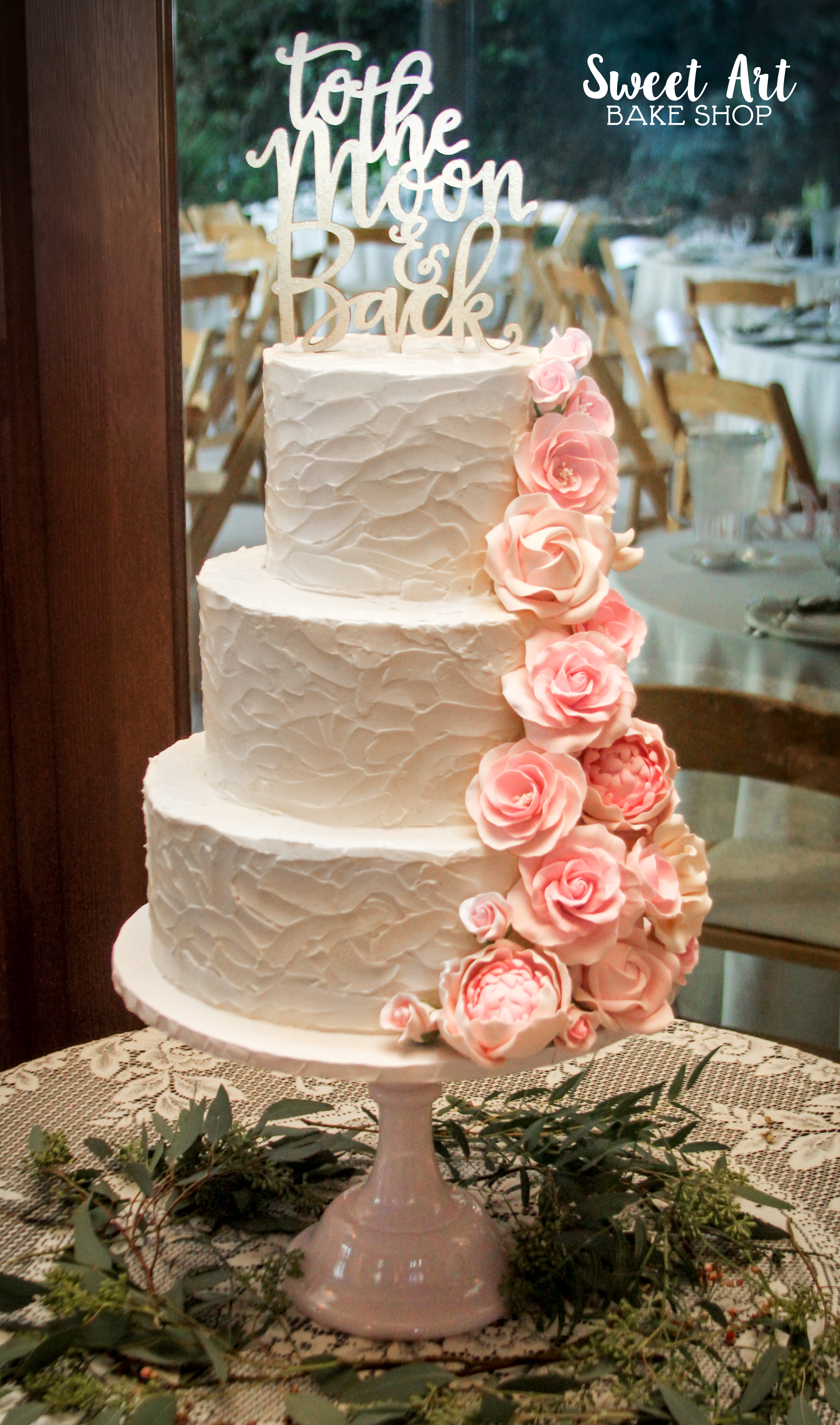 Textured Frosting with Sugar Flowers