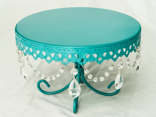 """8"""" Teal Hanging Crystal Cake Stand"""