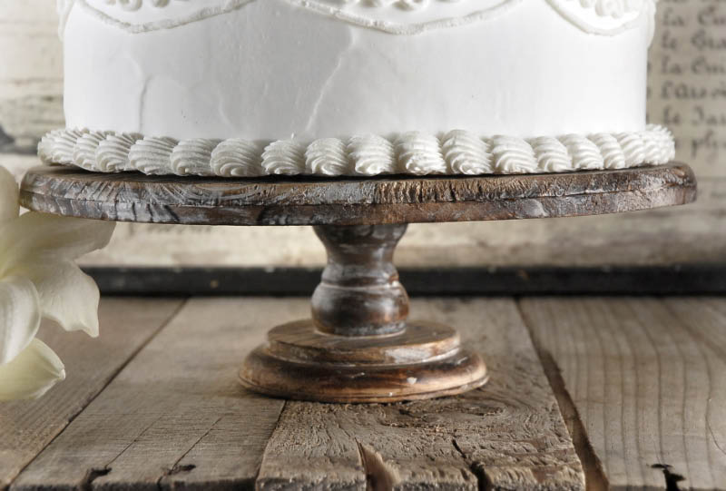 """Rustic Wood Cake Stand 12"""" x 4"""""""