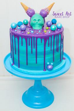 Skelaton Ice Cream Cone Drip Cake