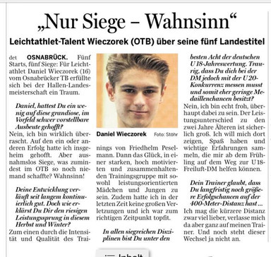 Interview mit Daniel in der NOZ