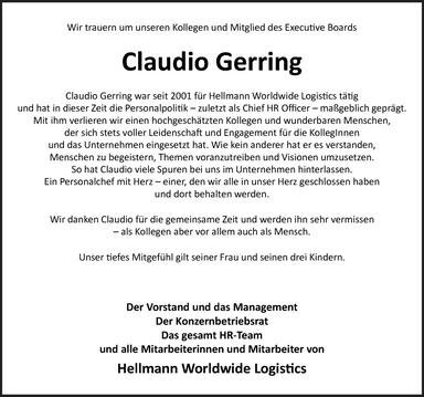 Trauer um Claudio Gerring