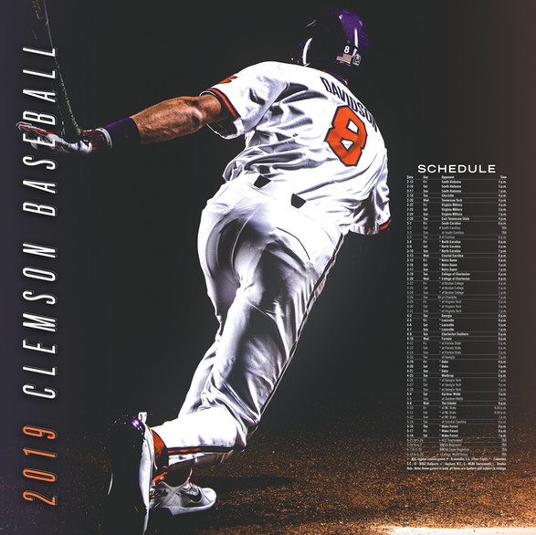 """""""Clemson Baseball"""" // 2019 Schedule"""