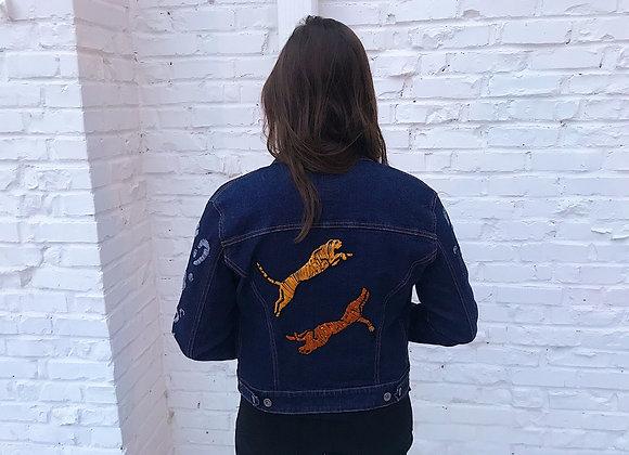Hand Embroidered Leopard Denim Jacket