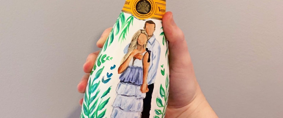 Painted Champagne Bottle