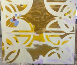 Oil on canvas, vinyl stencil