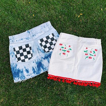 Hand Painted Game Day Denim Skirt