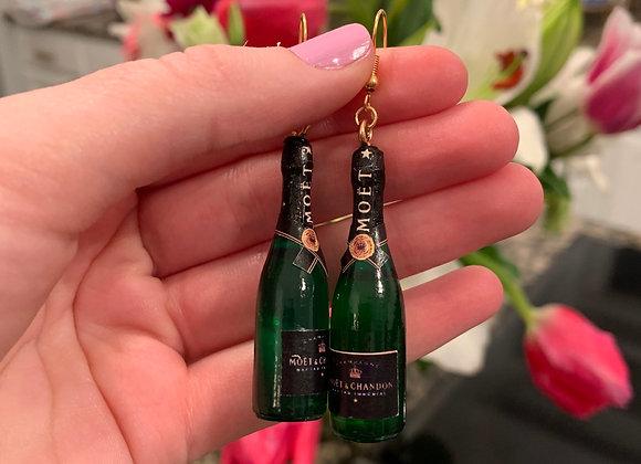 Moet Champagne Bottle Earrings