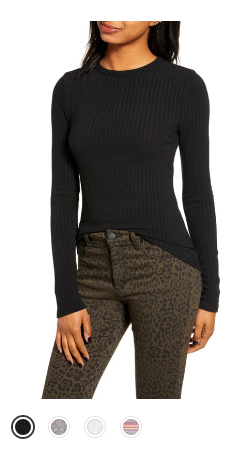 ribbed long sleeve nordstrom sale