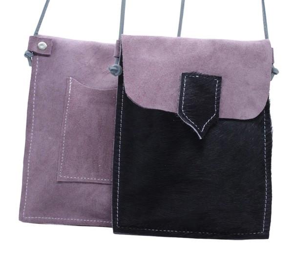 Bolsa Telemóvel _ camurça rosa velho+pêlo