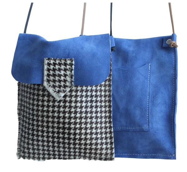 Bolsa Telemóvel _ camurça azul+pêlo pied