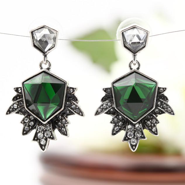 Brincos Green Crystal Pendant