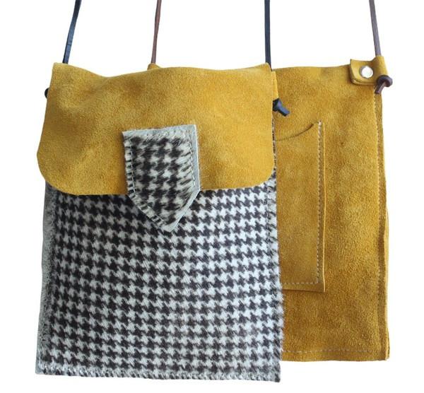 Bolsa Telemóvel _ camurça amarela+pêlo p