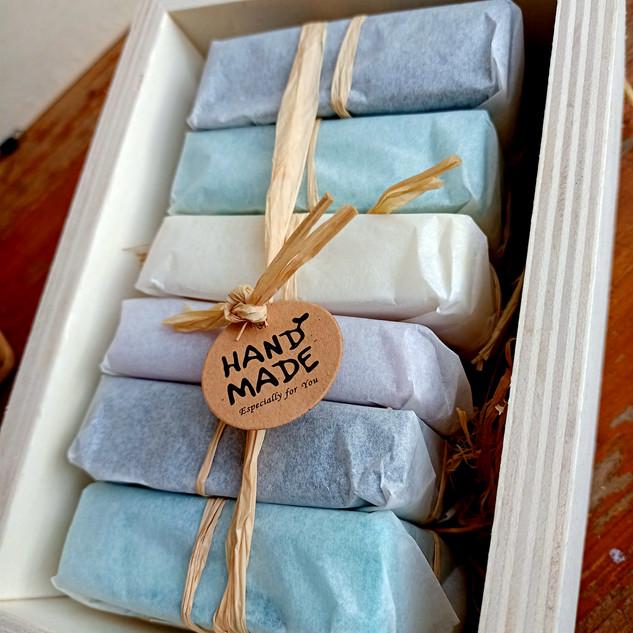 caixa faia conjunto 6 sabonetes