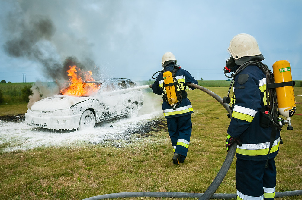 insurance claim, burning car, fire, total loss