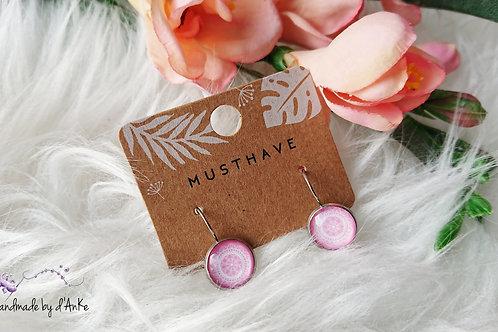 Ohrringe Boho-Muster rosa