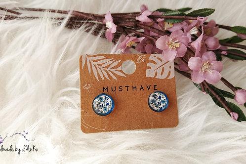 Ohrringe florales Muster blau