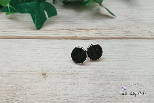 Ohrstecker Leder schwarz