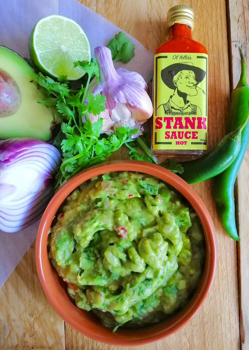 Fresh guacamole with Stank Sauce, great and easy summer recipe