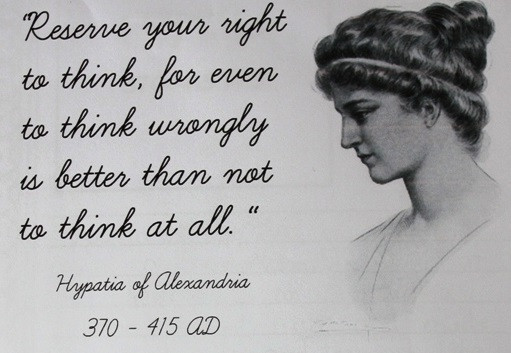 Hypatia of Alexandria illustration and quote - Image via Jimmie courtesy of Flickr  is licensed under CC BY 2.0