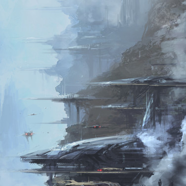 Sci-fi air base speed paint