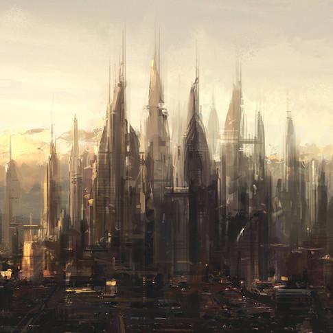 Futuristic city speed paint