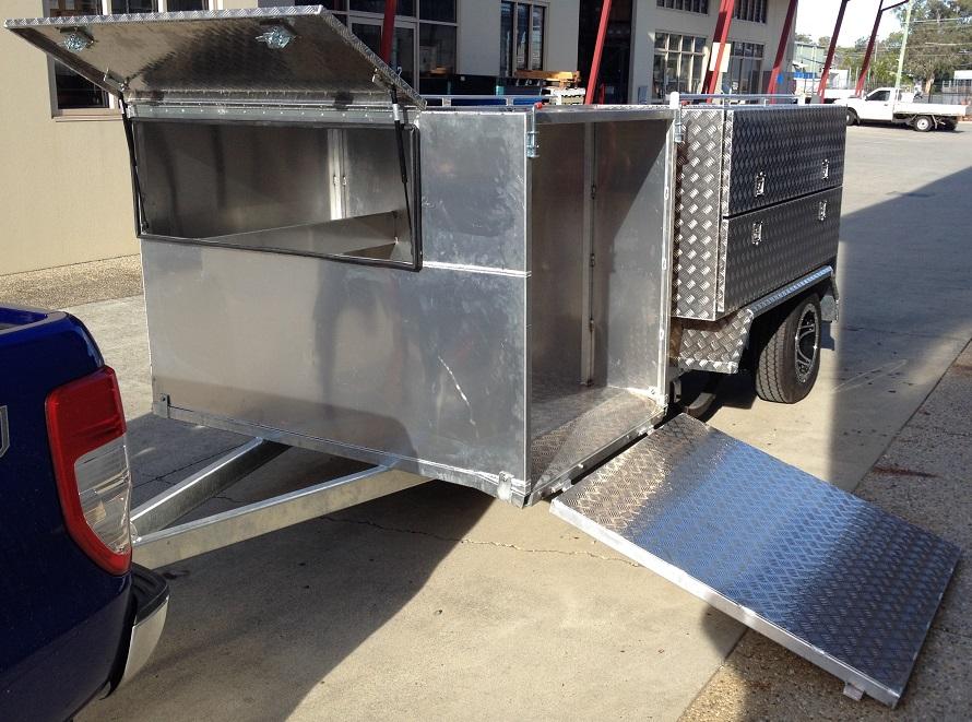 Custom-aluminium-mower-trailer-with-draw