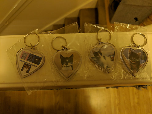 2 Key Rings with your own Cat ( or dog or any Photo)