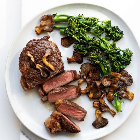 Reverse Seared Steak with Crispy Mushroo
