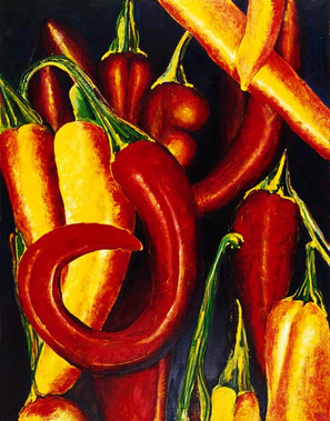 Pepperoncini (Comp. no. 4) 180x100cm, oil on canvas