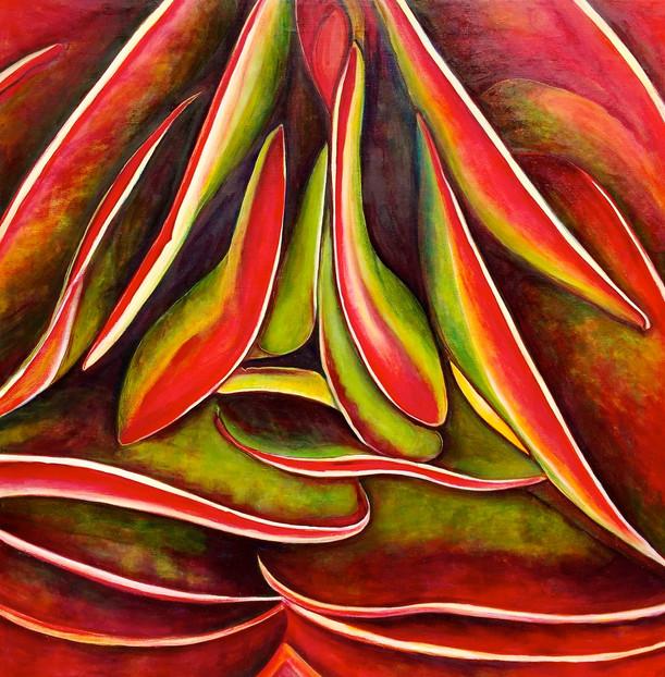 Succulent (Comp. No.1) 200/200cm, oil on canvas, 2016