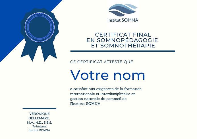 CertificaT FINAL FORMATION SOMNOTHÉRAPIE