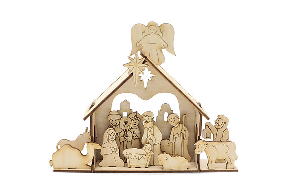 Natural Wood Nativity Deluxe