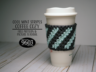 Cool Mint Stripes Coffee Cozy
