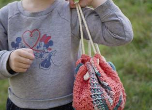 Mini Tunisian Drawstring Bag