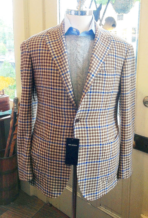 Ring Houndstooth Jacket in Brown and Cream